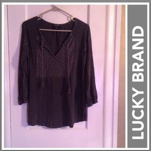 LUCKY BRAND EMBROIDERED DISTRESSED SHIRT